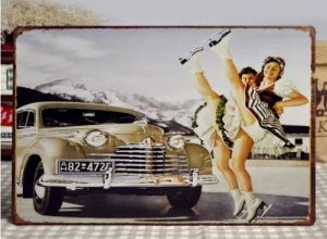 Vintage-Retro-Tin-Sign-Ice-Skating-Girl-Car